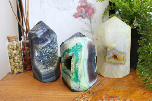 Polished Points - Green Agate Polished Druzy Point - 2 To 3 Lbs - Wonder Of Nature From Brazil - Agate Home Decor Rk87-Green