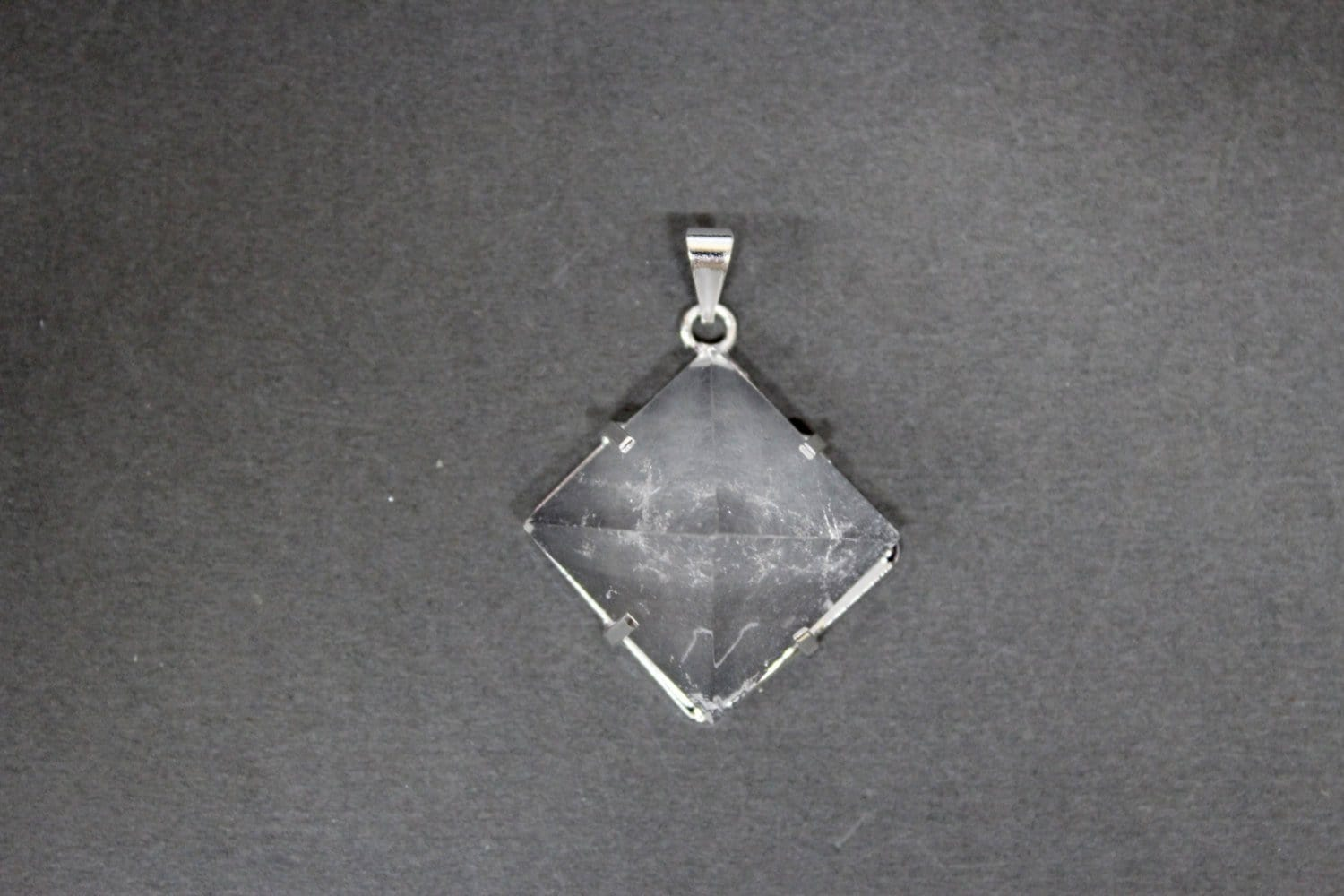Pyramid Pendant With Silver Plated Bail- Clear Crystal Quartz - Jewelry Supplies - Energy - Protection -  Chakra Crystal (Rk51B12b-02)