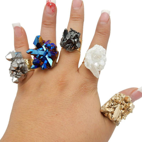 Ring - Crystal Point Cluster Ring With Electroplated Textured Adjustable Band (RK191B1-RK191B9)