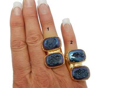 Ring - Double Blue Druzy Rainbow Titanium Edged In 24k Electroplated Gold  Mounted On An Adjustable Wide Band Ring (RK114B4-02)