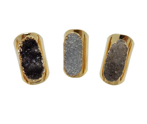 Ring - Druzy Ring - Large Oval Druzy Ring On Cigar Band Adjustable Ring - Electroplated 24k Gold (S125B1-01)