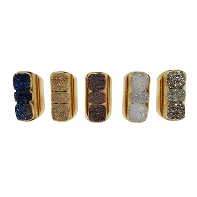 Ring - Triple Mystic Square Druzy Ring With 24k Gold Electroplated Cigar Band (S193B4)