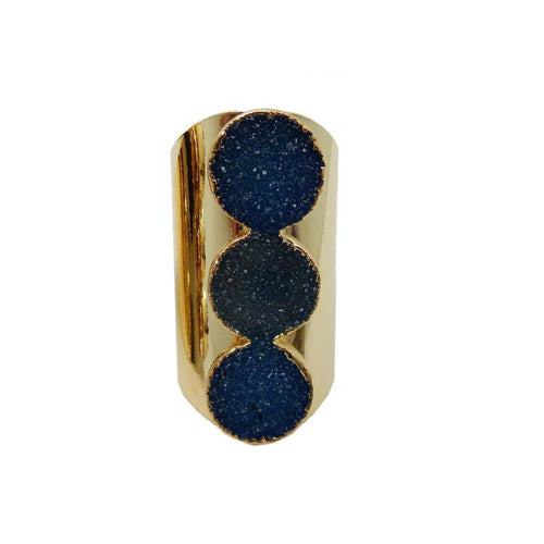 Ring - Triple Round Druzy Ring With Electroplated 24k Gold Or Silver Adjustable Cigar Band (RK193B1)(RK193B2)