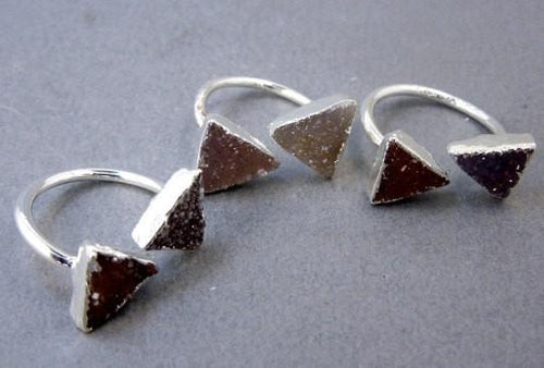Rings - Adjustable Double Druzy Triangle Ring Electroplated Silver
