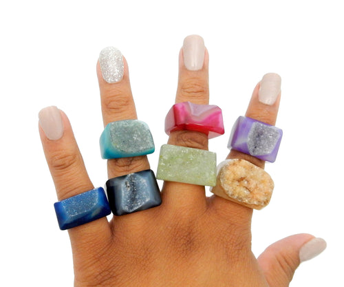 Rings - Agate Ring - Dyed Druzy Agate Rings (RK177)