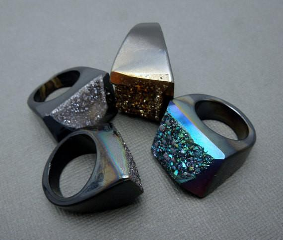 Rings - Amazing Titanium Drussy Druzzy Druzy Statement Ring -- You Choose