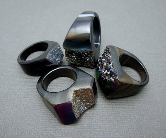 Rings - Beautiful Black Titanium Druzy Druzzy Statement Ring -- You Choose Size 7