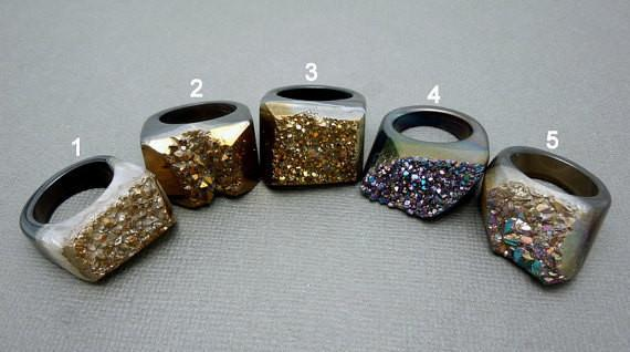 Rings - Colorful Black Titanium Druzy Druzzy Statement Ring -- You Choose Size 6