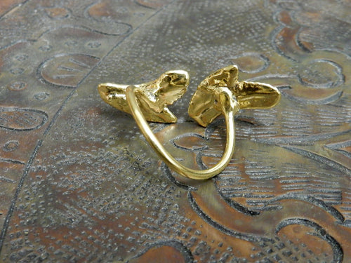 Rings - Double Shark Tooth  Ring 24K Gold Electroplated Adjustable Band - Unique - RK113B2-08