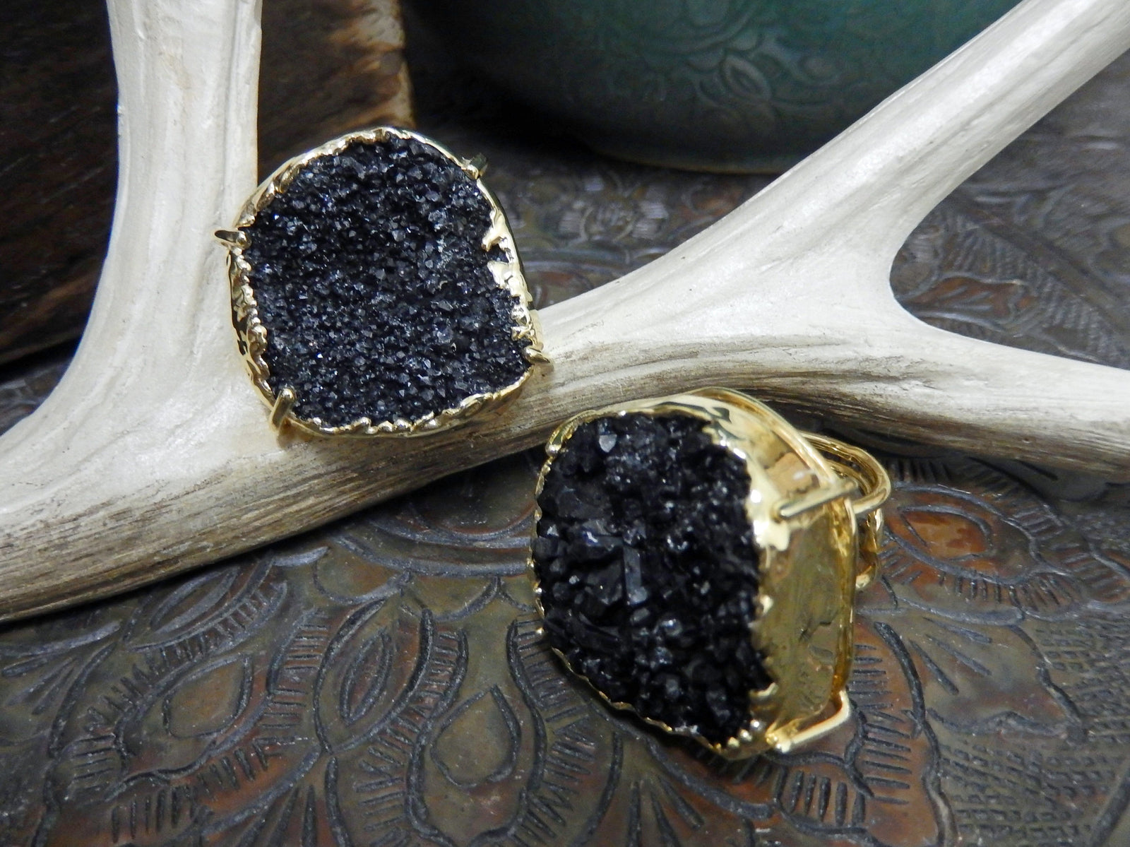 Rings - Druzy Ring - Adjustable Size - Stone Edged In Electroplated In 24k Gold Or Silver - YOU CHOOSE Stone Color