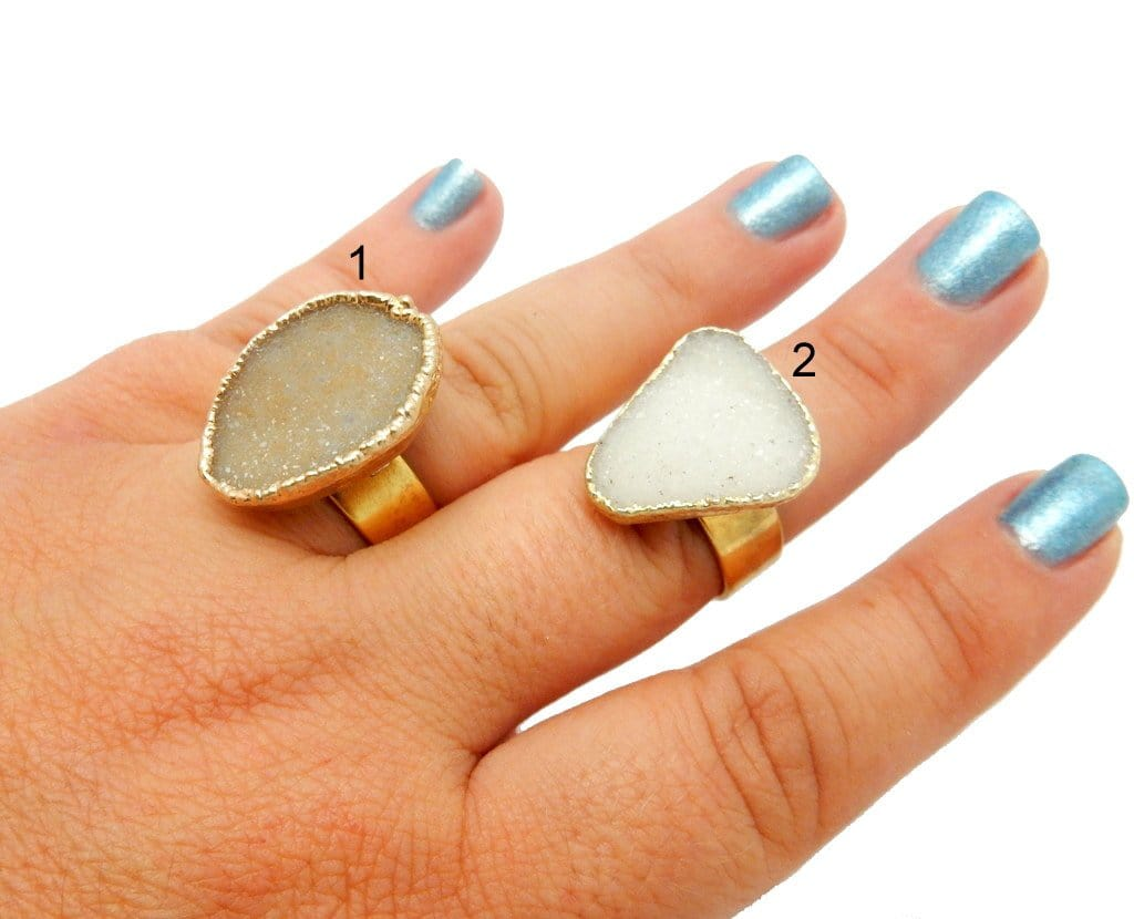 Rings - Druzy With Electroplated 24k Gold Edges On An Adjustable 24k Gold Electroplated Ring - YOU CHOOSE