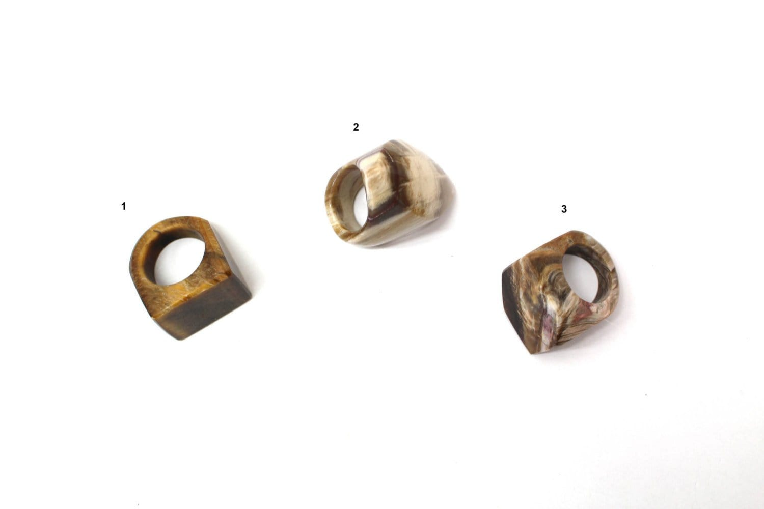 Rings - Petrified Wood / Mixed Stones Rings - Tiger Eye - Natural Jewelry - Brazilian Stones (RK11B11-01)