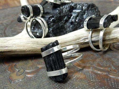 Rings - Raw Tourmaline Rod Wrapped With Silver Bands On An Adjustable Silver Electroplated Ring - RK113B2-02