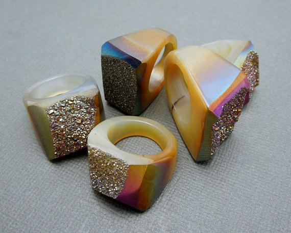 Rings - Titanium Druzy Druzzy Statement Ring -- You Choose