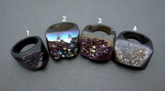 Rings - Titanium Druzy Statement Ring -- You Choose (Lot G-1821)
