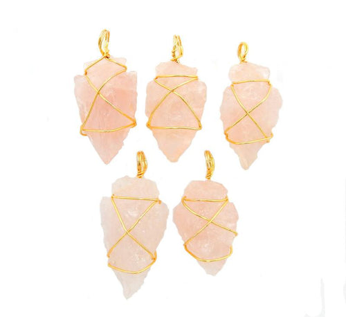 Rose Quartz Arrowhead Pendant Wire Wrapped Gold Tone Arrow Head Charm - Bulk Of 20- (RK40B3b)