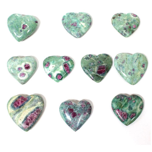 Ruby Fuschite - 1 (ONE) Ruby Fuschite Heart Shaped Stone - Chakra - Metaphysical (RK140B14-02)
