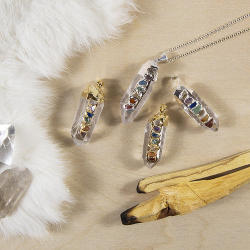 Crystal Quartz Point Pendant - Chakra Gemstone Accents - Electroplated Gold or Silver