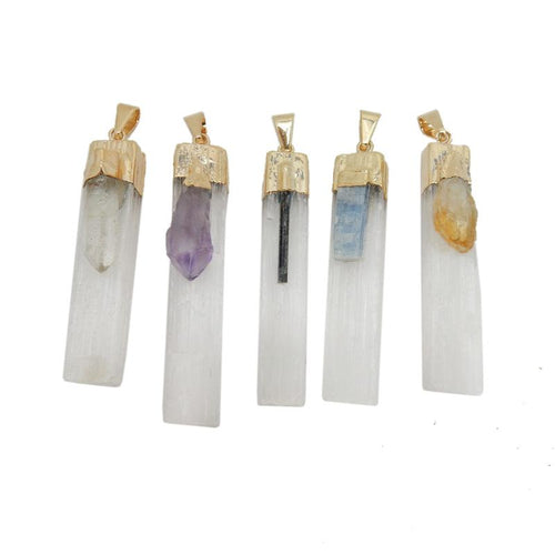 Selenite Pendant - Selenite Freeform Pendant With Gemstone Accent 24k Gold Electroplated Cap And Bail (S97)