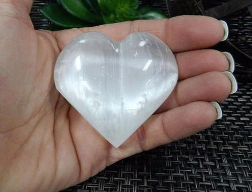 Selenite - Selenite Heart Shaped Stone - Chakra - Metaphysical - Reiki - Palm Stone - Choose The Quantity 1, 5, Or 10  (RK173B1)