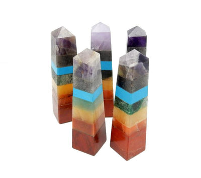 Seven Chakra Crystal Tower Point - Wire Wrapping - Chakra - Reiki - Crystal Grids - Energy Balancing (RK85B13)
