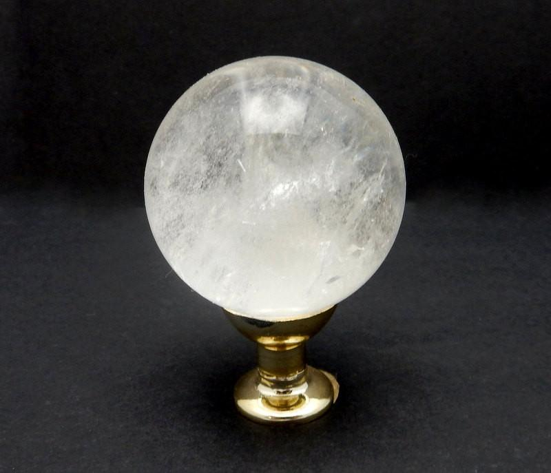 Sphere - Crystal Ball - Crystal Quartz Sphere On Gold Tone Color Base High Quality From Brazil Natural Crystal Chakra Reiki Crystal Ball  (RK31B9-01)