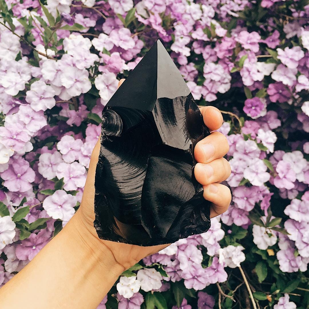 Black Obsidian Semi Polished Points- Obsidian - By Weight - (OB3)