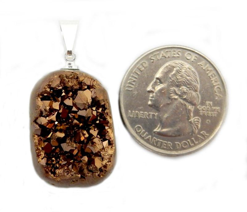 Titanium Treated Copper Color Druzy Cabochon With Silver Plated Bail - Beautiful Quality Great  (RK46B211-03)