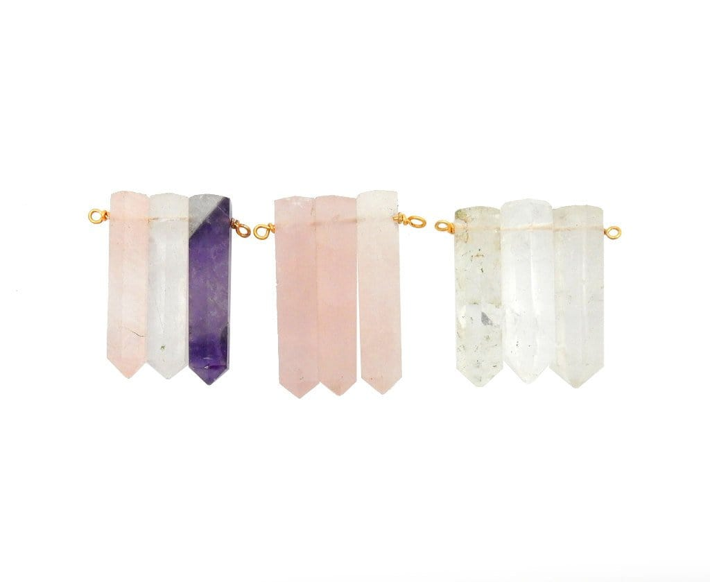 Triple Crystal Quartz Pencil Point Pendant With Gold Plated Wire Bails - (RK103B10-03)