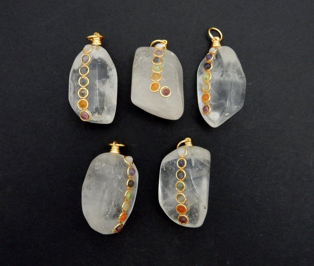 Tumbled Stone Chakra Pendant - Tumble Crystal Quartz Pendant With Chakra Gold Tone Accent And Bail (RK57B8-01)