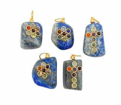 Tumbled Stone Chakra Pendant - Tumble Lapis Lazuli Pendant With Chakra Gold Tone Accent And Bail (RK57B6-02)