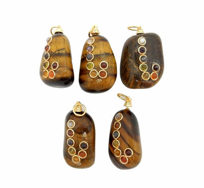Tumbled Stone Chakra Pendant - Tumble Tigers Eye Pendant With Chakra Gold Tone Accent And Bail (RK57B10-01)