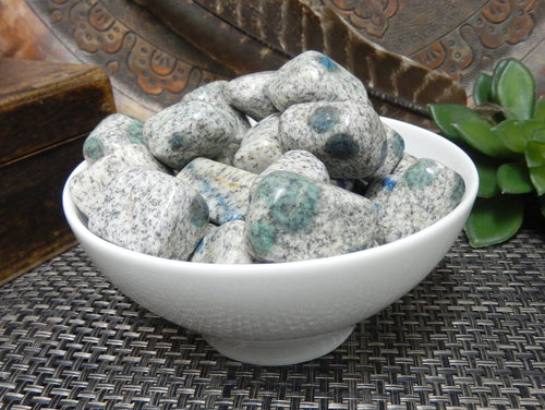Tumbled Stones - Azurite Granite Tumbled Stones -  Gardening  Jewelry Making - Jewelry Craft Supplies - Decor - Choose Quantity 1,3, Or 5 Stones (TS-32)