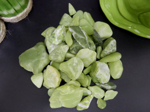 Tumbled Stones - Green Serpentine Tumbled Stone - Assorted Size Stones In A 1lb Bag - Wire Wrapping - Chakra -  (TS-102)