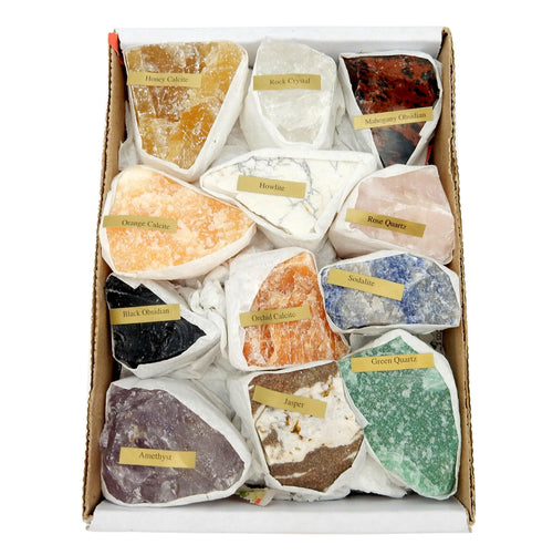 Tumbled Stones - Natural Gemstone Mix 1.5-2 Lbs Full Box Approx. 12 Pieces - Mixed Gemstones - Stones Crystals