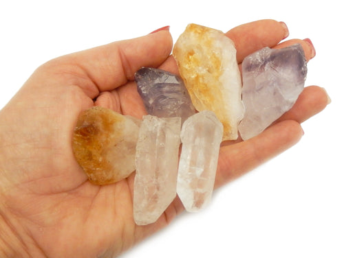 Tumbled Stones - Triple Energy Stone Collection - One (1) Set Of Natural Crystals - Citrine, Amethyst, Quartz - (BR-80)