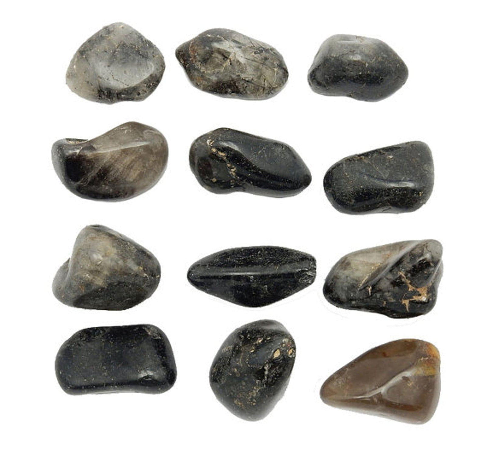 Tumbled Stones - Tumbled Dark Rutilated Crystal Quartz - Large