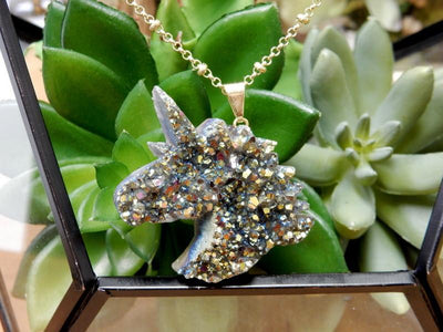 Unicorn - Rainbow Titanium Druzy Unicorn Pendant - Mystic Rainbow Druzy Pendant With Gold Or Silver Plated Bail - Wire Wrapped Jewelry - Decor - (RK128B4)