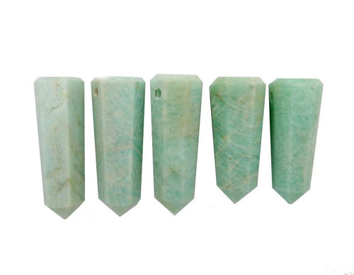 Wands - Amazonite Tower Obelisk Point DRILLED - Wire Wrapping - Chakra - Reiki - Crystal Grids - Energy Balancing (RK32B6b)