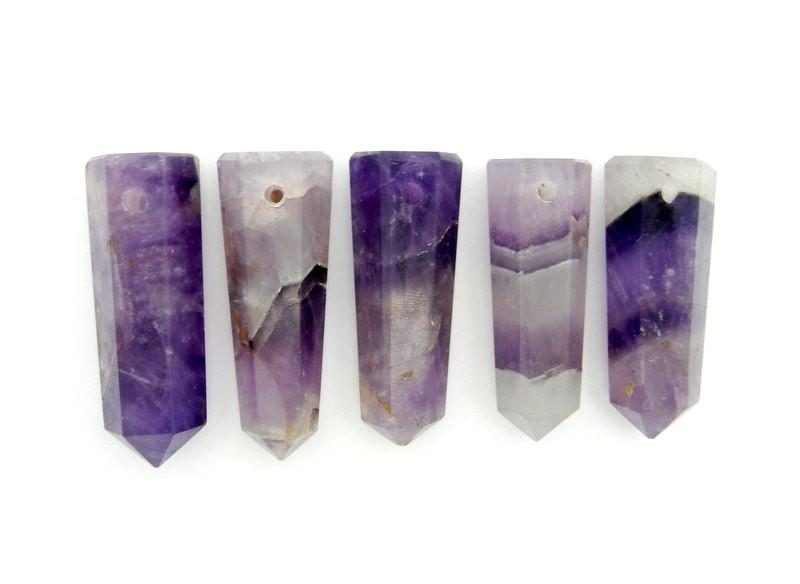 Wands - Amethyst Tower Obelisk Point DRILLED - Wire Wrapping - Chakra - Reiki - Crystal Grids - Energy Balancing (RK32B2b)
