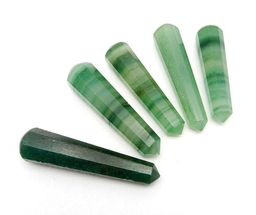 Wands - Green Fluorite Point -  Pencil Point - Green Fluorite Massage Wand Point  - Chakra - Therapy Wand - Wire Wrapping (RK45B6)