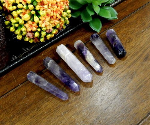 Wands - Large Amethyst Tower Thin Obelisk Point DRILLED - Wire Wrapping - Chakra - Reiki - Crystal Grids - Energy Balancing (RK32B7)