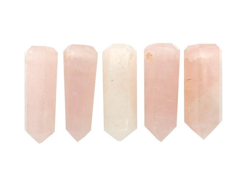 Wands - Rose Quartz Tower Obelisk Point DRILLED - Wire Wrapping - Chakra - Reiki - Crystal Grids - Energy Balancing (RK32B10b)