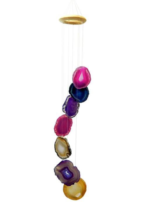 Wind Chime - Agate Wind Chimes Mix Color Agate Slice Windchime - Home Decor - Spiritual Gift - Crystal Collection (RK84B2)