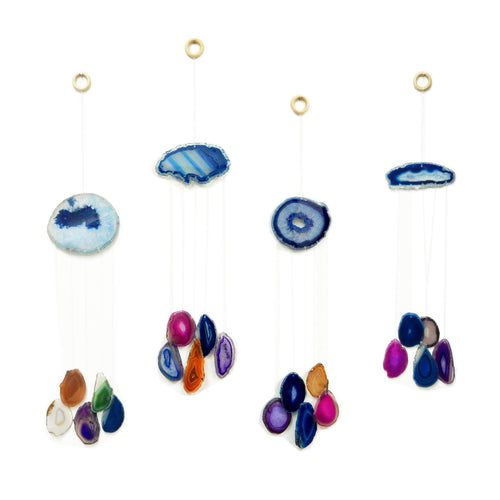 Wind Chime - Blue Agate Wind Chime - Assorted Color Agate Slice Wind Chime - Home Decor - Spiritual Gift - Crystal Collection (OB1B2)