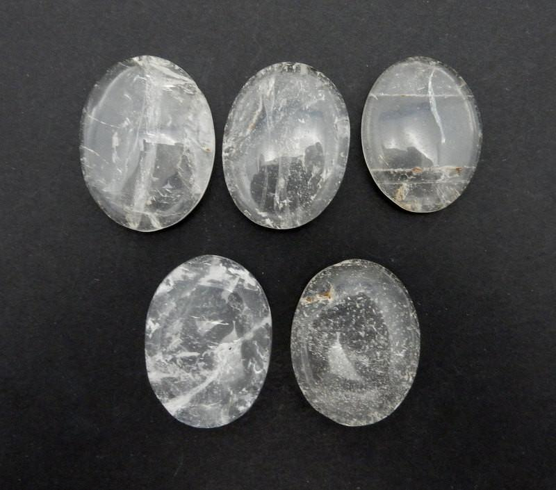 Worry Stones - Crystal Quartz Worry Stone Slab - Thumb Stone - Palm Stone - Metaphysical - Chakra - Wire Wrap - Great Gift (RK41B8)