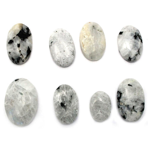 Worry Stones - Moonstone Worry Stone Slab - Thumb Stone - Palm Stone - Metaphysical - Chakra - (RK46B6b-02)