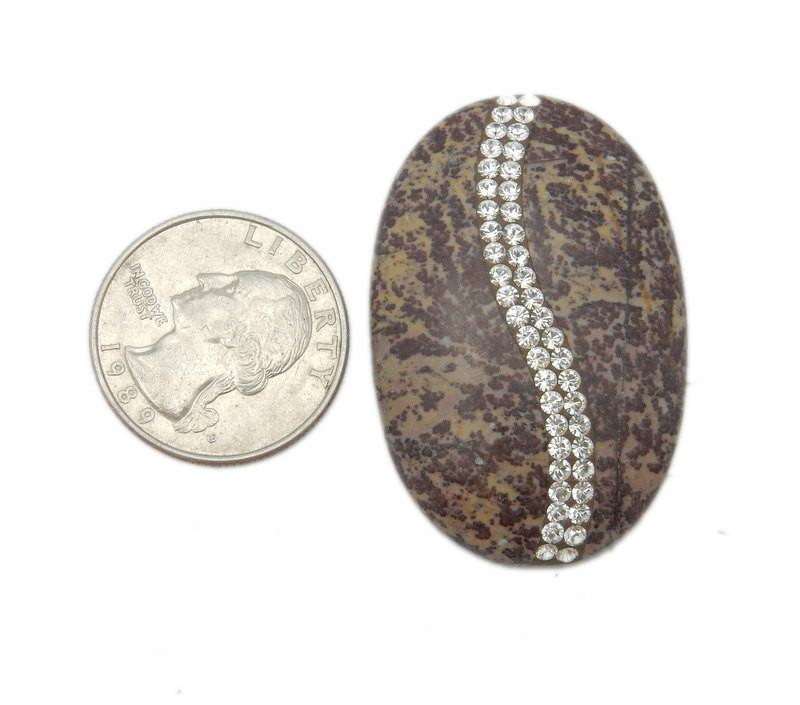 Worry Stones - Oval Jasper Cabachon Or Thumb Stone With CZ Rhinestone Accents  - Limited!! (RK3B18-02)