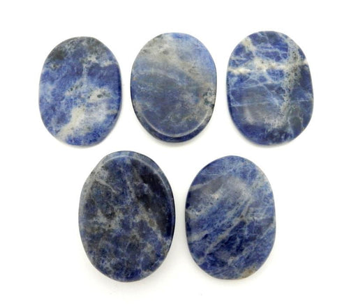 Worry Stones - Sodalite Worry Stone Slab - Thumb Stone - Palm Stone - Chakra - Metaphysical - Gift Idea - Wire Wrap -  (RK41B11)