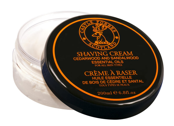 Castle Forbes Shaving Cream 200ml - Cedarwood & Sandalwood Essential Oil